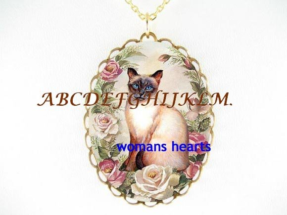 SIAMESE CAT FORGET ME NOT DAISY PORCELAIN CAMEO LOCKET NK