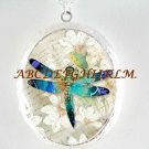 BLUE DRAGONFLY LILY SCRIPT CAMEO PORCELAIN LOCKET NECKLACE