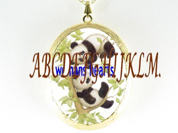 2 PANDA BABY CUBS PLAY CAMEO PORCELAIN LOCKET NECKLACE