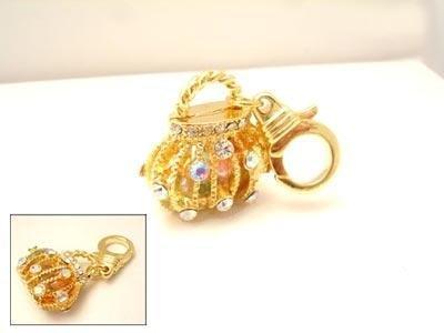 JUICY COUTURE CRYSTAL DIAMOND DIVA GOLDEN HANDBAG CHARM