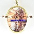 RARE GOLDEN ANGEL CAMEO PORCELAIN LOCKET NECKLACE