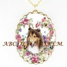 SMILING COLLIE DOG PANSY ROSE HEART PORCELAIN NECKLACE
