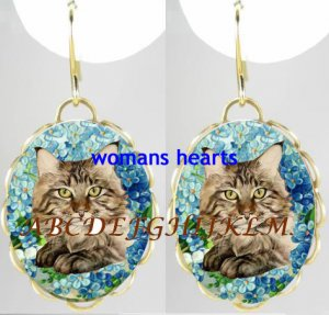 MAINE COON CAT FORGET ME NOT PORCELAIN CAMEO EARRINGS