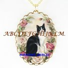 BLACK AND WHITE CAT PINK ROSE PORCELAIN CAMEO NECKLACE