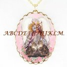 2 MAINE COON CAT ANGEL ROSE PORCELAIN CAMEO NECKLACE
