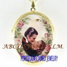 GONE WITH THE WIND PINK ROSE PORCELAIN CAMEO LOCKET NECKLACE