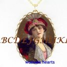 VICTORIAN VINTAGE RED HAT LADY PORCELAIN CAMEO NECKLACE