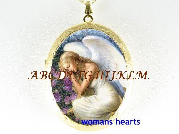 SLEEPING ANGEL ROSE PORCELAIN CAMEO LOCKET NECKLACE