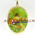 4 RED FOX FAMILY FLOWER PORCELAIN LOCKET NECKLACE