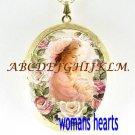 LOVING MOTHER HOLDING BABY ROSE* CAMEO PORCELAIN LOCKET NECKLACE