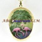 2 FLAMINGO BIRD PALM TREE 3D CAMEO LOCKET NECKLACE