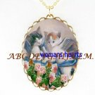 2 ANGEL KITTY CAT PLAY ROSE PORCELAIN CAMEO NECKLACE