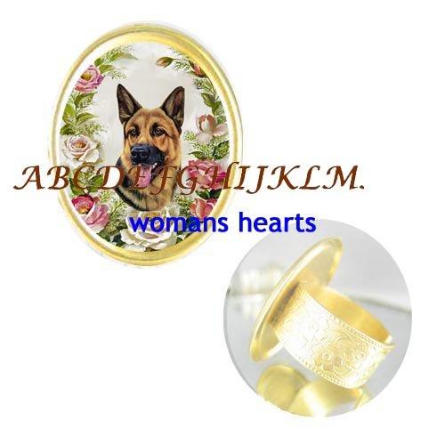 GERMAN SHEPHERD DOG PINK ROSE PORCELAIN CAMEO RING 5-9