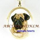 CUTE SWEET PUG DOG PORCELAIN PIN LOCKET NECKLACE