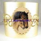 2 MARE FOAL HORSE CUDDLE PORCELAIN CAMEO CUFF BRACELET