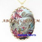 2 SQUIRREL FRIENDS SHARE NUT PORCELAIN CAMEO NECKLACE