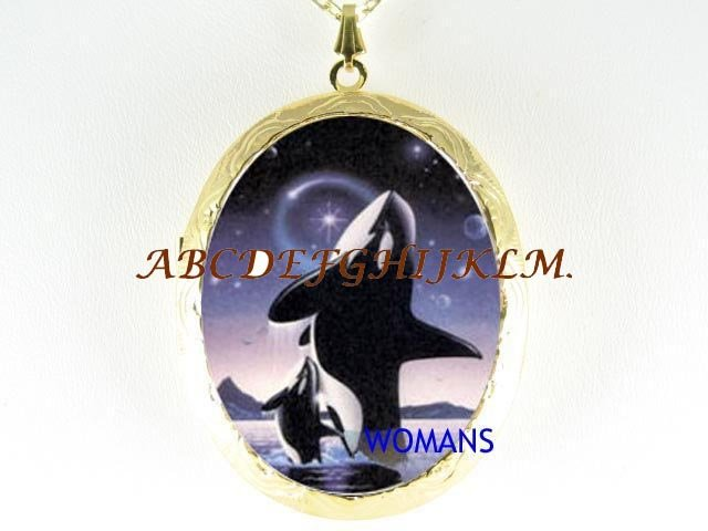 2 ORCA KILLER WHALE PORCELAIN CAMEO LOCKET NECKLACE
