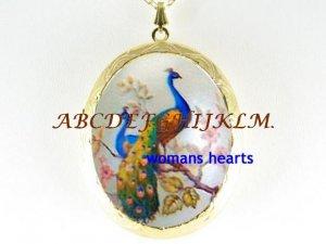 2 PEACOCK BIRD CHERRY BLOSSOMS PORCELAIN CAMEO LOCKET