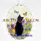 BLACK CAT WITH PANSY BUTTERFLY PORCELAIN CAMEO NECKLACE