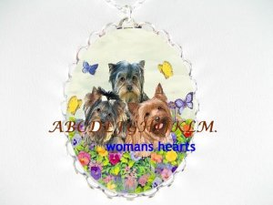 3 YORKSHIRE TERRIER DOG PANSY BUTTERF CAMEO NECKLACE