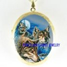 3 GREY WOLF HOWLING MOON CAMEO PORCELAIN LOCKET NECKLACE