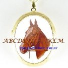 BROWN STALLION HORSE PORCELAIN CAMEO LOCKET NECKLACE