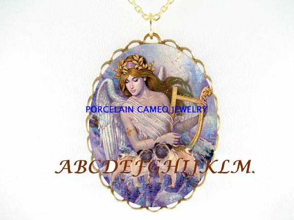 2 PUG DOG WITH ANGEL CAMEO PORCELAIN PENDANT NECKLACE
