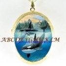3 ORCA KILLER WHALE JUMPING PORCELAIN CAMEO NECKLACE