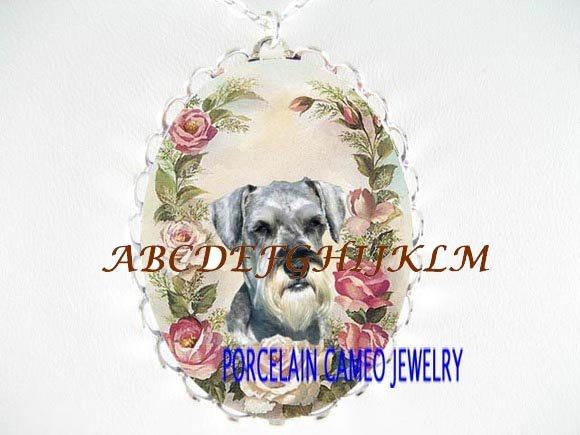 SCHNAUZER DOG WITH PINK ROSE PORCELAIN CAMEO NECKLACE