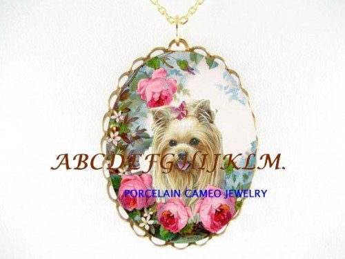YORKSHIRE TERRIER DOG ROSE CAMEO PORCELAIN NECKLACE