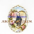 2 DOBERMAN PINSCHER DOG ROSE CAMEOPORCELAIN PIN PENDANT
