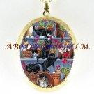 BLACK WHITE CAT COLLAGE GARDEN PORCELAIN CAMEO LOCKET