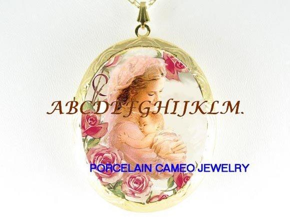 MOTHER BABY CHILD ROSE PORCELAIN CAMEO LOCKET NECKLACE-48