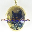 BLACK CAT DANDELION CAMEO PORCELAIN LOCKET NECKLACE