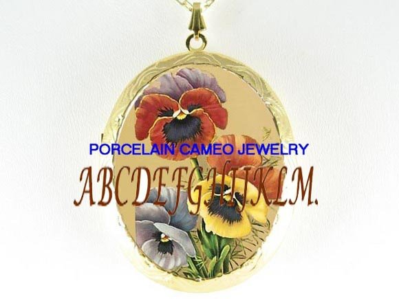 VICTORIAN PANSY FLOWER CAMEO PORCELAIN LOCKET NECKLACE