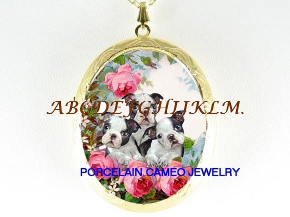 3 BOSTON TERRIER PUPPY DOG PORCELAIN CAMEO LOCKET NK