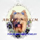 YORKSHIRE DOG PANSY FLOWER CAMEO PORCELAIN NECKLACE