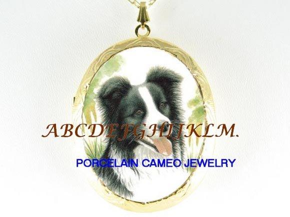 SMILE BORDER COLLIE DOG CAMEO PORCELAIN LOCKET NECKALCE