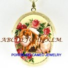 2 POMERANIAN DOG BUTTERFLY ROSE PORCELAIN CAMEO LOCKET