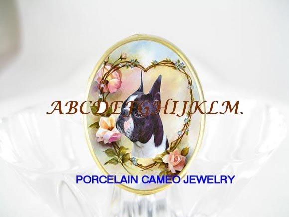 BOSTON TERRIER DOG ROSE HEART CAMEO PORCELAIN RING 5-9