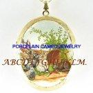 4 RABBIT BUNNY FAMILY CARROT CAMEO PORCELAIN LOCKET NK