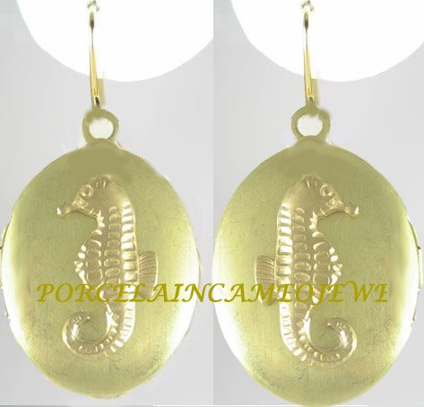 GOLDEN SEAHORSE ANTIQUE VINTAGE BRASS LOCKET EARRINGS