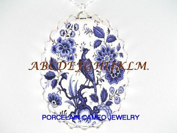 DELFT EXOTIC BLUE BIRD FLORAL PORCELAIN CAMEO NECKLACE