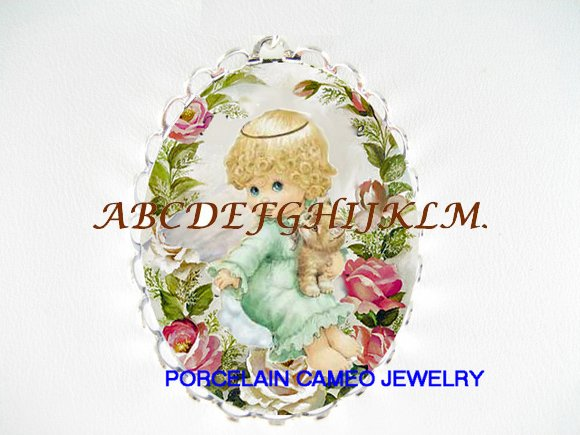 ANGEL HOLD KITTY CAT ROSE CAMEO PORCELAIN PIN PENDANT