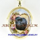 BLACK PUG DOG ROSE HEART CAMEO PORCELAIN LOCKET NECKALCE