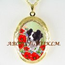 BORDER COLLIE DOG POPPY PORCELAIN CAMEO ANTIQUE VINTAGE LOCKET NECKLACE