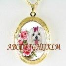 MALTESE DOG ROSE PORCELAIN CAMEO ANTIQUE VINTAGE LOCKET NECKLACE