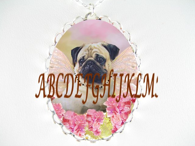 PUG DOG BUTTERFLY ANGEL FAIRY  PORCELAIN CAMEO NECKLACE
