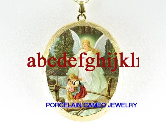 GUARDIAN ANGEL CHILDREN BRIDGE CAMEO PORCELAIN LOCKET