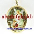 GUARDIAN ANGEL CHILDREN BRIDGE CAMEO PORCELAIN LOCKET